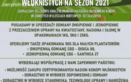 Certyfikowany materiał nasienny konopi włóknistych 2021